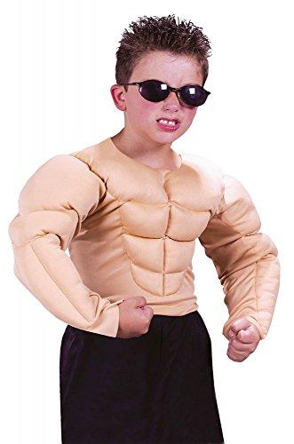 shoperama Muskulöser Oberkörper für Jungen Sixpack Muskeln Muckies Fatsuit für Kinder-Kostüm Teenager Assi Proll, Größe:8 bis 10 Jahre