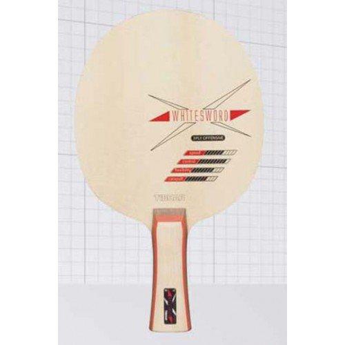 Tenis de mesa de madera TIBHAR White Sword, anatómica + 3 paquete de 3* TT-pelotas de diferentes fabricantes