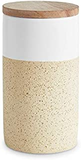 Botes de cerámica con tapa de madera Soft Sand Tapa hermética de madera de caucho Recipientes de 400 ml a 1 litro de cap...