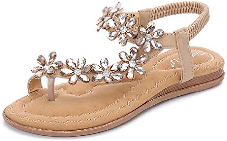 Women's Summer Open Toe Sandals Bohemia Rhinestone Flower Bead Folk Sandals Boho Beach Flip Flops Elastic T-Strap Clip On Post Thong Flat Sandals