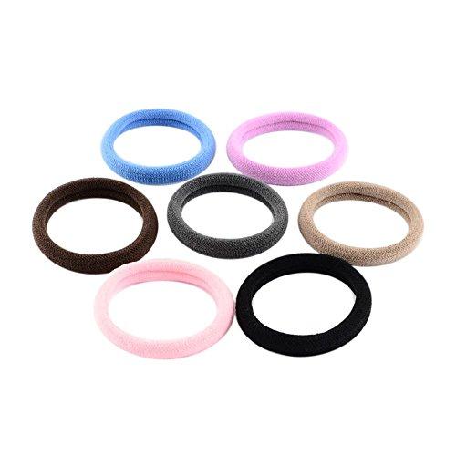 PandaHall-Boite (60Pcs/Boite) de Cheveux Elastiques Couleur Mixte Diametre:30mm Epaisseur:7mm Boite: 120x90x45mm Mixtes Aleatoires