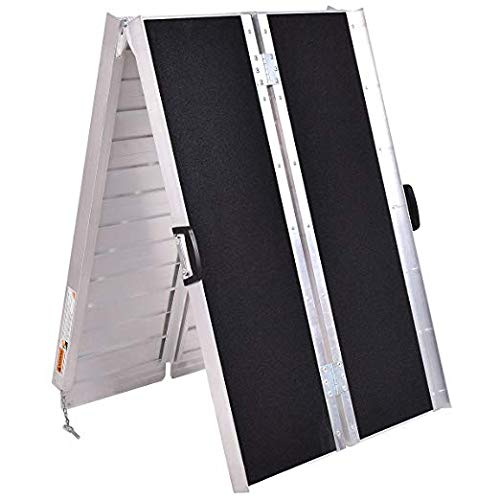 Goplus 7' Portable Aluminum Multifold Wheelchair Ramp, 7F Non-Skid Mobility Scooter Ramp