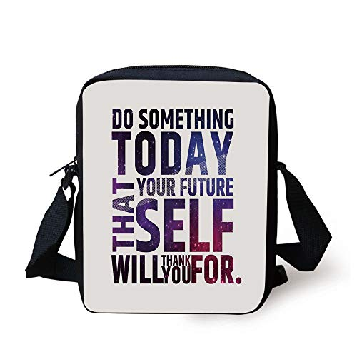 LULABE Inspirational,Do Something Today That Your Future Self Will Thank You For Typography,Dark Purple White Print Kids Crossbody Messenger Bag Purse