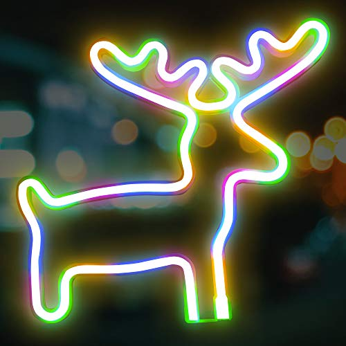 Uptotop Christmas Neon Signs, Christmas Reindeer Shape with Battery and USB Operated Neon Lights for Xmas Indoor, Wall Decoration (Batteries Not Include) (Multi-Colored)