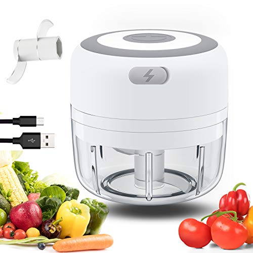 Electric Mini Garlic Chopper, MichPong Wireless Portable Mini Food Chopper Electric Mini Chopper Seasoning & Spice Choppers for Garlic/Onions/Vegetables/Salad/Pepper (White, 100ML)