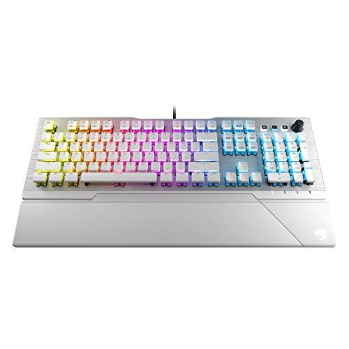 ROCCAT Vulcan 122 AIMO Taktile Mechanische Titan Switch Full-Size PC Gaming Tastatur mit Per-Key AIMO RGB Beleuchtung, eloxierte Aluminium-Deckplatte und abnehmbare Handballenauflage - weiß/Silber