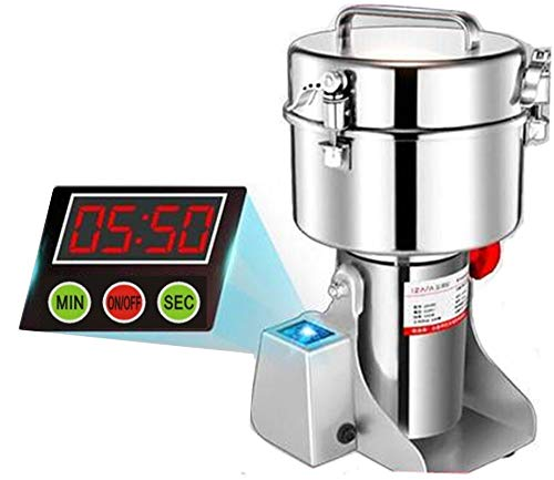 CGOLDENWALL LED Display 2500g Commercial Electric Grain Grinder Mill Ultra-fine Powder Grinding Machine Chinese medicine Spice Herb Grinder Pulverizer Food Grade Stainless Steel CE approved