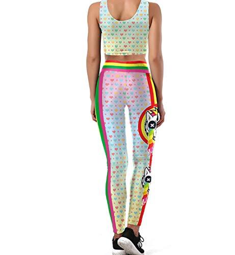Azly Haut Pantalon Yoga Taille, Pantalons D'entraînement Imprimé Numérique 3D, Caleçon Slim Sport, Courir pour Les Femmes Fitness Training,J,L
