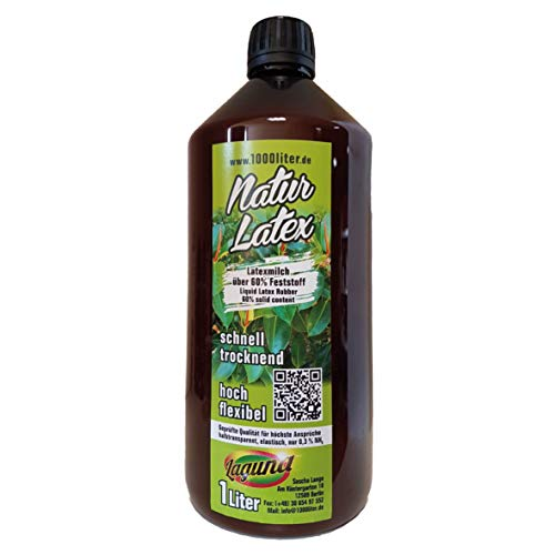 Latex liquide NATUR latex 1000 ml pour masques de bricolage green Line latex, 1 litre, givulcanisé