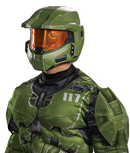 Disguise Men's Halo Master Chief Infinite Full Helmet Costume Accessory, Green & Yellow, Adult Size