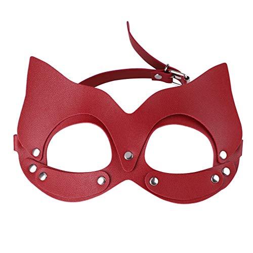 EXCEART 1 Unid Máscara de Cuero para Fiesta de Gato de Cuero Máscara de Cuero para Ojos Mujer Gato Mascarada para Fiesta de Carnaval Accesorio de Disfraz de Cosplay (Rojo)
