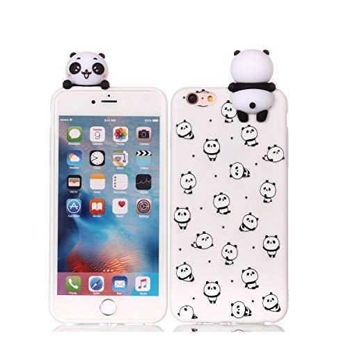 HopMore Funda iPhone 6S / 6 (4.7 Inch) Silicona Motivo 3D Divertidas (Panda Unicornio) TPU Gel Kawaii Ultrafina Slim Case Antigolpes Caso Protección Flexible Cover Design Gracioso - Pequeño Panda