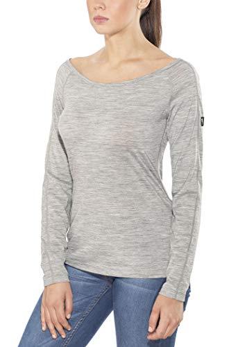 super.natural W Essential Scoop Neck 175 T-Shirt à Manches Longues en Laine mérinos. Femme, Ash Melange, XL