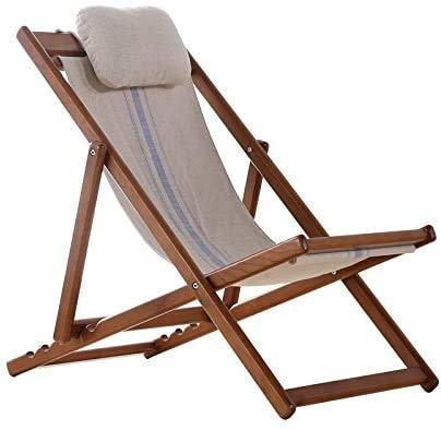 Easy Folding Table Full-Solid Wooden, tuless Chair, Easy Chair, Balcony Folding Chair, Canvas Lounge Chair, Oak Beach Chair,Brown