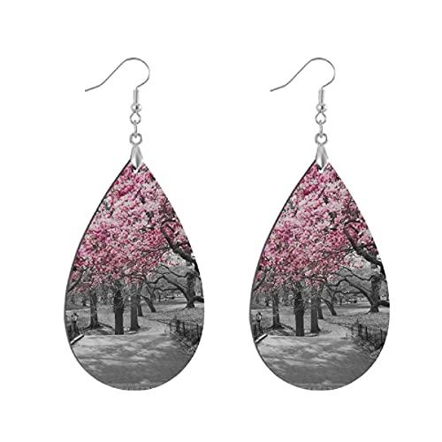 Pendientes de madera de moda colgantes de lágrima ligeros pendientes de forma de gota para mujeres joyas flores en Central Park Cherry Bloom Trees Forest Spring Springtime
