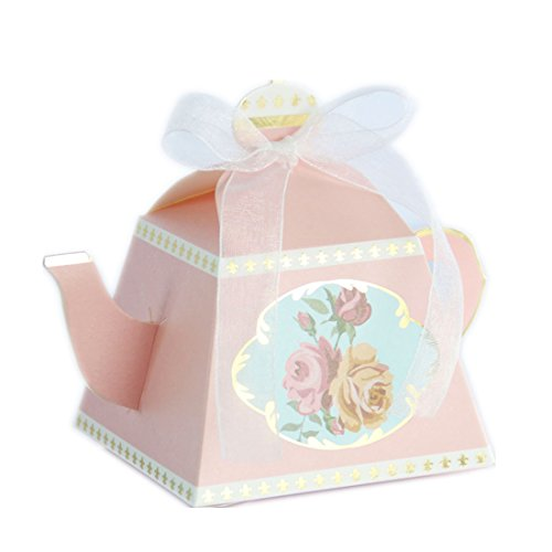 the love 50-Packed Teapot Box for Wedding Favors Candy Boxes Gifts Box Marriage Party Favor (Pink)