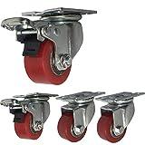 4 Ruedas industriales 40mm / 50mm heavy duty 1000kg Silencio PU Ruedas giratorias de placa con freno Soporte de acero Rodamiento de hierro Para muebles Transporte de la fábrica Mesa de Trabajo