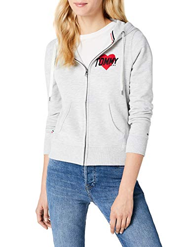 Tommy Jeans Damen Logo Zip Hoodie Langarm Sweatshirt Langarmshirt Grau (Light Grey Htr 000) Small
