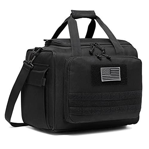 DBTAC Gun Range Bag Large   Tactical Pistol Shooting Range Duffle Bag for 4+ Handguns Range Trip - 2 in 1 Camera Duffel Bag with 2X Removable Velcro Divider for DSLR (Black)