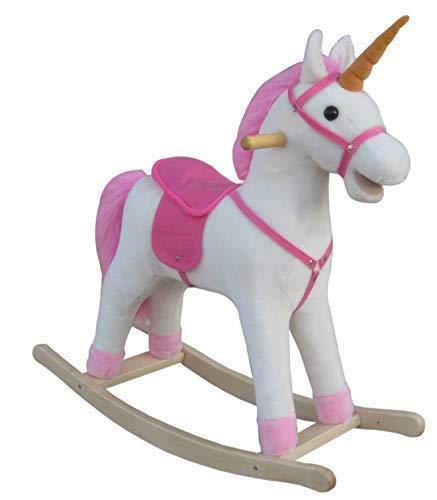 The Rocking Horse Co Bianco a Dondolo Unicorno - Peluche Finitura - Completo con Suoni - su Solido Legno Rockers