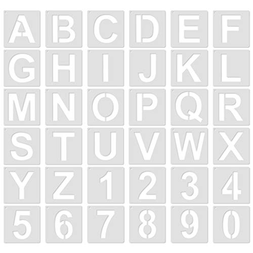 36 Pcs Letter Stencils for Painting 4 Inch - Alphabet Stencils for Wood Burning - Plastic Number Stencils Reusable - Capital Calligraphy Stencil Letters Template for Canvas, Card Making