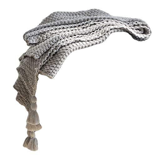 LiuQianBath Tejido Suave Manta Ligera Suave Manta con borlas for la Cama Sofá Sofá Adecuado for Adultos y niños Mantener Caliente (Color : Gray, Size : 130 * 170cm)