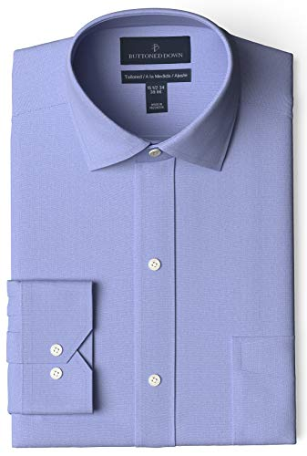 Amazon Brand - Buttoned Down Men's Tailored Fit Spread Collar Solid Non-Iron Dress Shirt Blue w/ Pocket 16' Neck 35' Sleeve