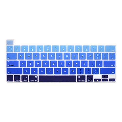 EKYJ Fácil de Usar For el MacBook Pro de 16 Pulgadas 2019 Cubierta Toque Bar y Touch ID A2141 Color del Arco Iris de Silicona Inglés Piel del Teclado Protector de Piel para Teclado (Color : FadeBlue)