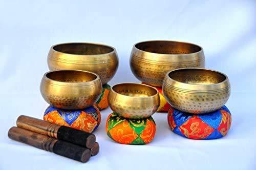Set Of 5 Hand Hammered Singing Bowls-Tibetan Singing Bowl-Meditation Bowls, Healing Bowls