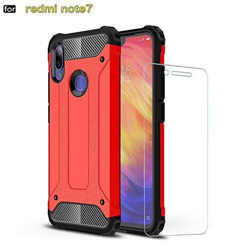 DESCHE para Funda Xiaomi Redmi Note 7 Pro, Hard PC Soft TPU 2 en 1 360 Armadura Protectora Funda Resistente a los arañazos a Prueba de Golpes Funda Duradera para teléfono + Vidrio Templado -Rojo