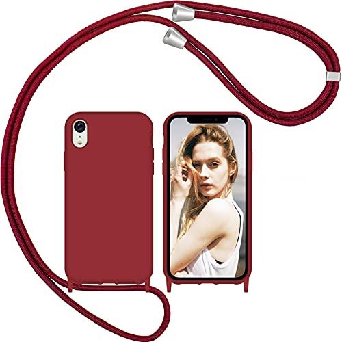 Nupcknn Funda Silicona con Cuerda para iPhone XR, Carcasa Suave Silicona Case con Correa Colgante Ajustable Collar Correa de Cuello Cadena Cordón(Rojo)