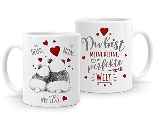 Moonworks® Kaffee-Tasse Panda Ich Deins Du Meins Wir Eins Liebes-Geschenk Valentinstag Liebesbeweis Liebeserklärung Meine kleine, perfekte Welt weiß Keramik-Tasse