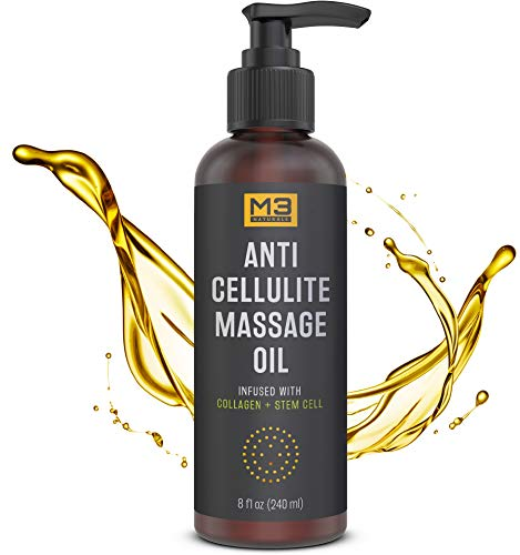 M3 Naturals Anti Cellulite Massage Oil Infused with Collagen and Stem Cell - Natural Lotion - Help Firm, Tighten Skin Tone - Treat Unwanted Fat Tissue, Stretch Marks - Cellulite Removal Cream 8 oz