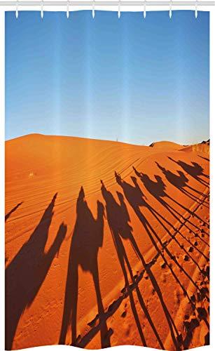 ABAKUHAUS Woestijn Douchegordijn, Camel Caravan Silhouet, voor Douchecabine Stoffen Badkamer Decoratie Set met Ophangringen, 120 x 180 cm, Gebrande Oranje Sky Blue