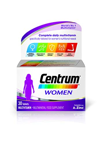 Centrum Women Multi Vitamins and Minerals Tablet, 30 Tablets (1 month supply), 24 Essential Nutrients Vitamins and Minerals Tailored for Women Under 50, Vitamin D, Complete From A - Zinc