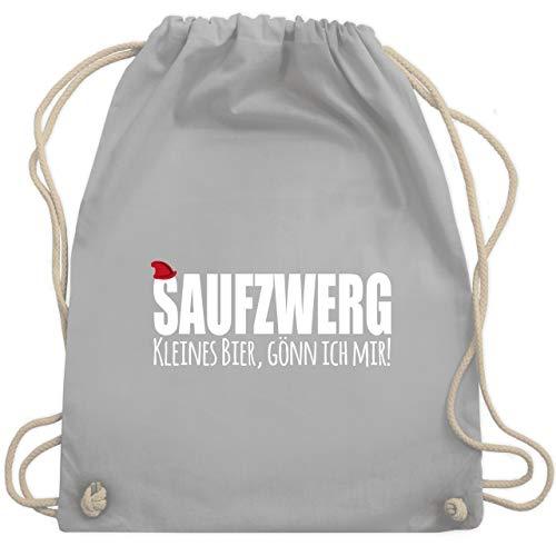 Shirtracer Karneval & Fasching - Saufzwerg - weiß - Unisize - Hellgrau - Zwerg - WM110 - Turnbeutel und Stoffbeutel aus Baumwolle