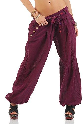 Zarmexx Haremshose Pumphose mit Gürtel Pluderhose Uni-Farben Ballonhose Aladinhose Harem Hose Sommerhose Yoga (Bordeaux, 36-40)