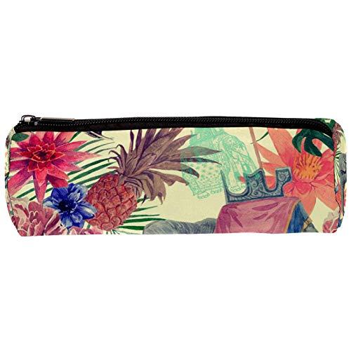 Vintage indio elefante pavo real flores patrón hojas lápiz estuche bolsa lindo bolígrafo cremallera bolsa bolsa bolsa para papelería viaje escuela estudiante suministros