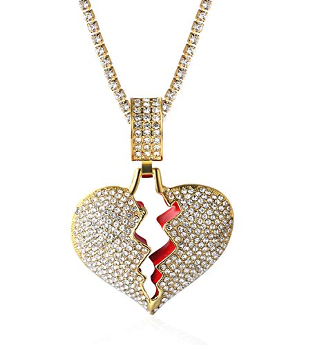 Halukakah Gold Chain for Men Iced Out,18k Real Gold Plated Broken Heart Pendant Necklace,Full Cz Lab Diamonds Prong Set,with Baby Tennis Chain 50cm