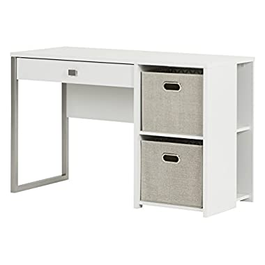 South Shore Interface Pure White Desk with Storage & Baskets