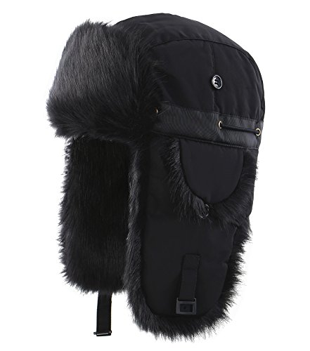Connectyle Unisex Faux Fur Lined Trooper Trapper Hat Warm Winter Hunting Bomber Hats with Ear Flaps, 55 60cm, Black
