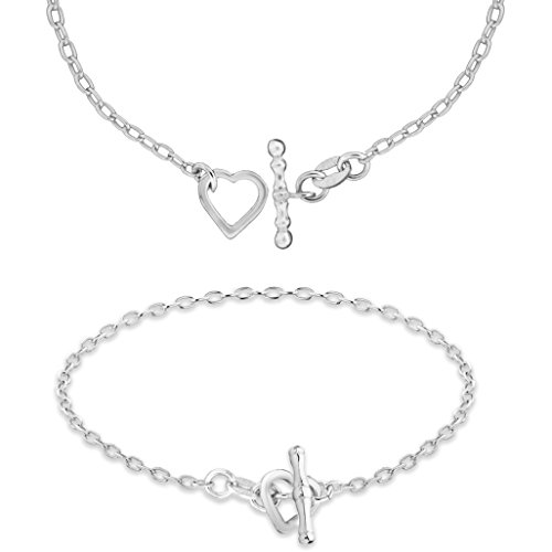 Tuscany Silver Sterling Silver Open Heart T-Bar chain Bracelet Set