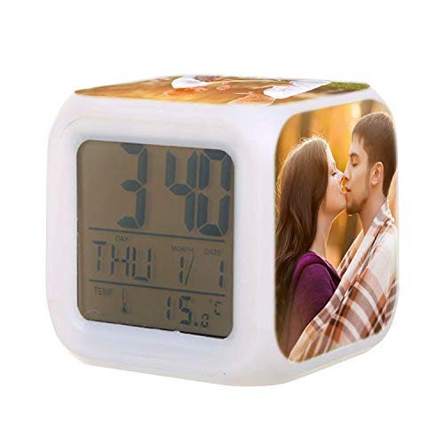 Customized Photo Alarm Clock Personalized 7-Color Night Light LED Light Customized 4 Pictures Digital Alarm Clock Home Decoration Birthday Gift