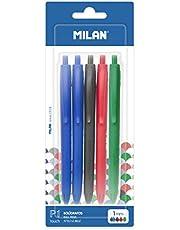 MILAN 5 Bolígrafos P1 Touch, 1 Negro, 1 Rojo y 1 Verde, 1mm, 5