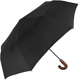 1 Pc Folding Umbrella Umbrella for Travel with Wooden Effect Crook Handle Elegant Extra Strong and Compact