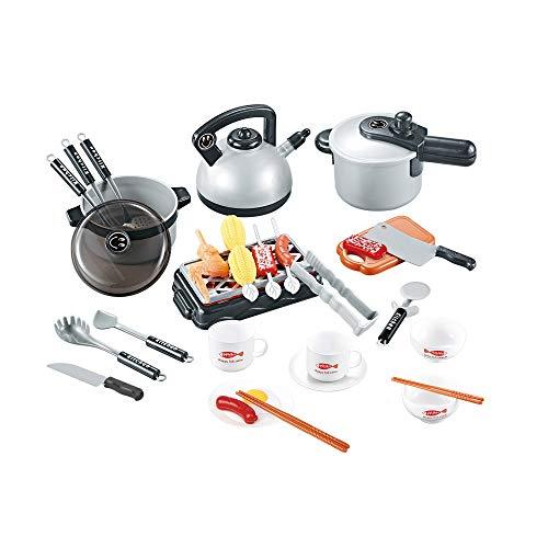 Children's Kitchen speelhuis speelgoed, Small Keukengerei Barbecue Set, geschikt voor jongens en meisjes puzzel Early Education,Silver