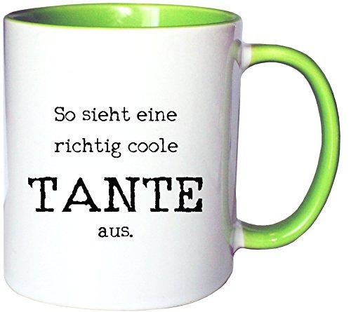 Mister Merchandise Kaffeetasse Becher So Sieht eine richtig Coole Tante aus Aunt, Farbe: Weiß-Grün