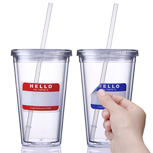 Cupture Classic Insulated Double Wall Tumbler Cup with Lid, Reusable Straw & Hello Name Tags - 16 oz, 2 Pack (clear)