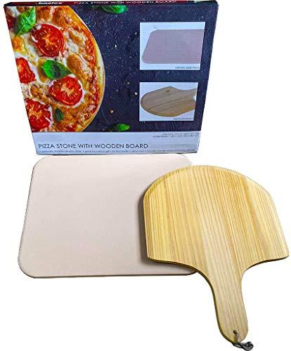 Rechthoekige Pizzasteen, Rechthoekige Baksteen Met Gratis Pizzaschil, Grillgrill Op Hoge Temperatuur, Ideaal Voor Ovens Grills BBQ, 12X15in