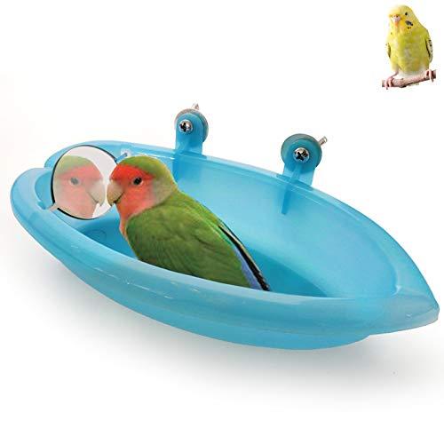 Bañera Loro Jaula de Baño para Pájaros con Espejo Jaula de Loro para Ducha Bañera Duradero Adorable pájaro bañera Ducha Herramientade Limpieza Periquitos, Cacatúas, Bañeras, Comederos